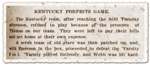 Kentucky Team Forfeits Game in 1905